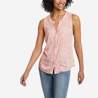 Women's Magnolia Y-Neck Button-Down Tank Top - Print in Red
