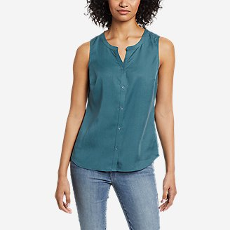 Women's Magnolia Y-Neck Button-Down Tank Top - Solid in Blue