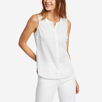 Women's Magnolia Y-Neck Button-Down Tank Top - Solid in White