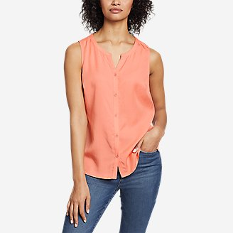 Women's Magnolia Y-Neck Button-Down Tank Top - Solid in Green