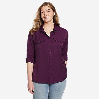 Women's Tranquil Sandwashed Herringbone Shirt in Purple