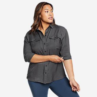Women's Tranquil Sandwashed Herringbone Shirt in Gray