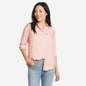 Women's Tranquil Sandwashed Herringbone Shirt in Red