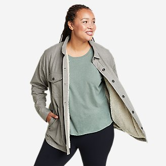 Women's Eddie's Faux Shearling-Lined Shirt Jacket in Gray