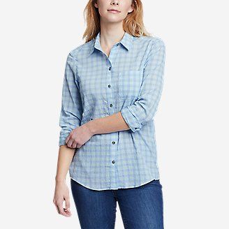 Women's Packable Long-Sleeve Shirt in Blue
