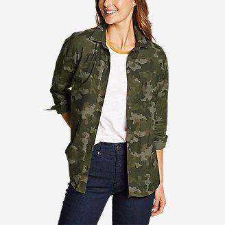 Women's Stine's Favorite Flannel Boyfriend Shirt - Pattern in Green
