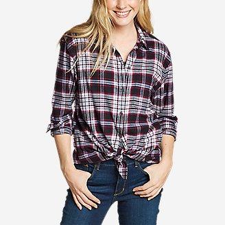 Women's Stine's Favorite Flannel Boyfriend Shirt - Pattern in Gray