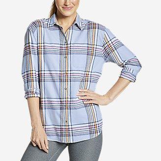 Women's Stine's Favorite Flannel Boyfriend Shirt - Pattern in Blue