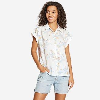 Women's Tranquil Short-Sleeve Shirred Shirt - Pattern in White