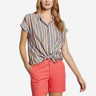 Women's Tranquil Short-Sleeve Shirred Shirt - Pattern in Red