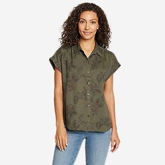 Women's Tranquil Short-Sleeve Shirred Shirt - Pattern in Green