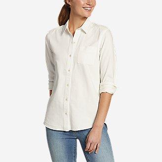 Women's Vintage Denim Shirt - Release Hem in Beige