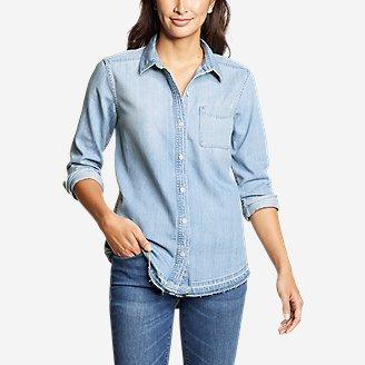 Women's Vintage Denim Shirt - Release Hem in Blue