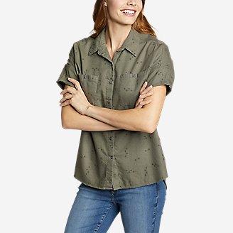 Women's Wild River Flannel Short-Sleeve Shirt in Green