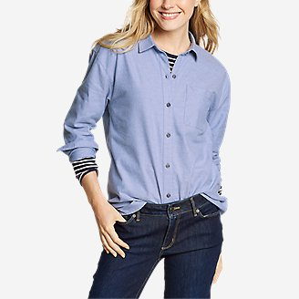Women's Stine's Favorite Flannel Boyfriend Shirt - Solid in Blue