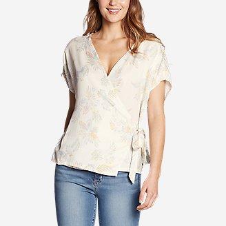Women's Tranquil Tie Short-Sleeve Shirt - Print in White