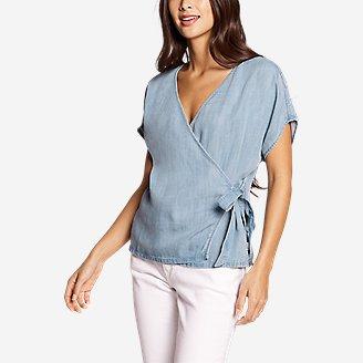 Women's Tranquil Tie Short-Sleeve Shirt - Print in Blue