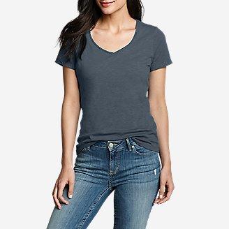 Women's Essential Slub Short-Sleeve V-Neck T-Shirt in Gray