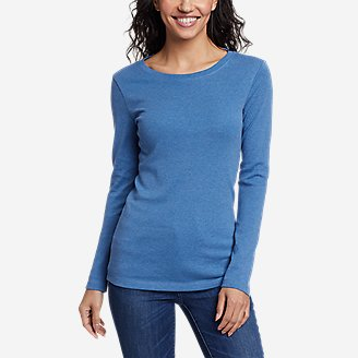 Women's Favorite Long-Sleeve Crewneck T-Shirt in Blue