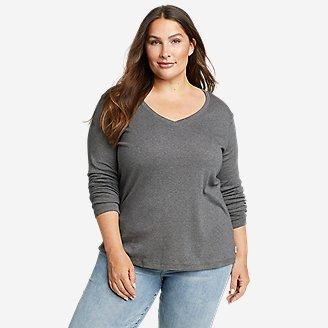 Women's Favorite Long-Sleeve V-Neck T-Shirt in Gray
