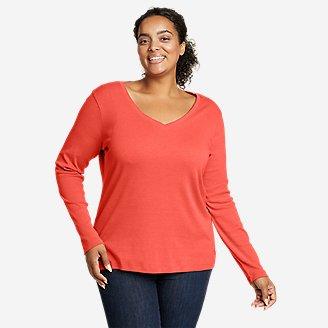 Women's Favorite Long-Sleeve V-Neck T-Shirt in Orange