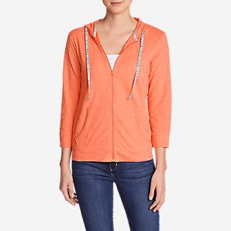 Women's Slub Full-Zip Hoodie in Orange