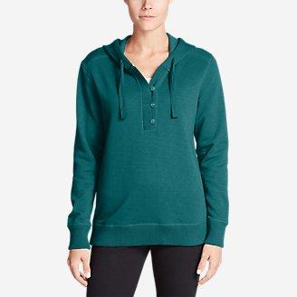 Women's Brushed Fleece Hooded Pullover in Green
