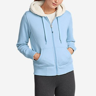 Women's Cabin Fleece Sherpa Hoodie in Blue