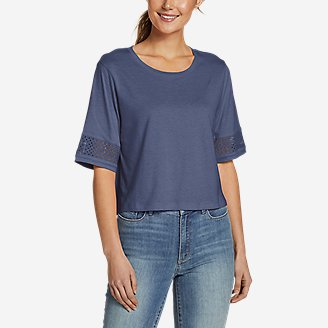 Women's Gate Check Eyelet-Sleeve Top in Blue