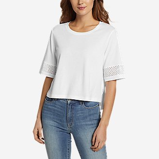 Women's Gate Check Eyelet-Sleeve Top in White