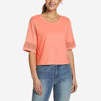 Women's Gate Check Eyelet-Sleeve Top in Green