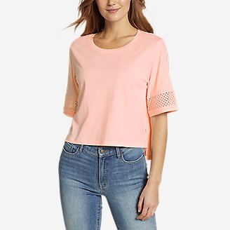 Women's Gate Check Eyelet-Sleeve Top in Red