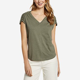 Women's Gate Check Ruched T-Shirt in Green
