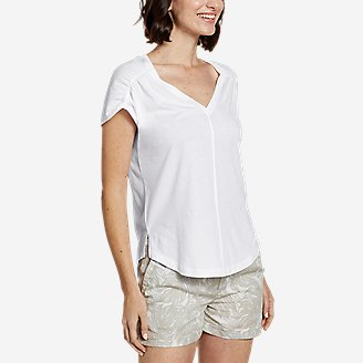 Women's Gate Check Ruched T-Shirt in White
