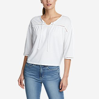 Women's Gate Check 3/4-Sleeve Embroidered Yoke Top in White