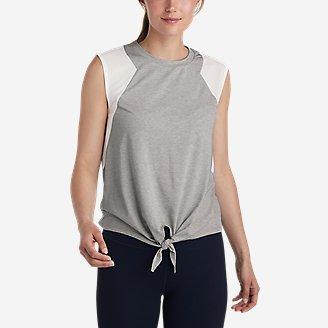 Women's Willpower Tie-Front Tank Top in Gray