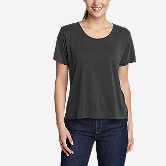Women's Sandwash Scoop-Neck Short-Sleeve T-Shirt in Black