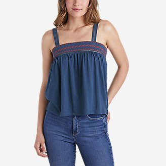 Women's Gate Check Embroidered Square-Neck Tank Top in Blue