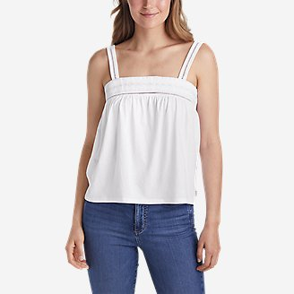 Women's Gate Check Embroidered Square-Neck Tank Top in White