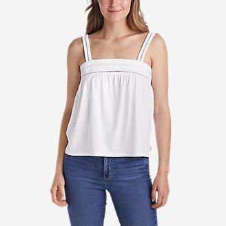 Women's Gate Check Embroidered Square-Neck Tank Top in White