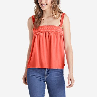 Women's Gate Check Embroidered Square-Neck Tank Top in Red