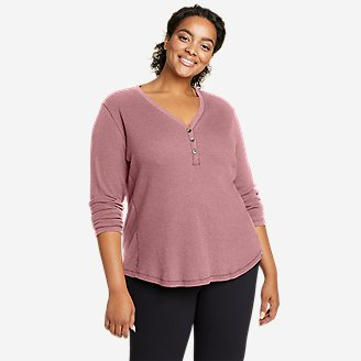 Women's Myriad Thermal-Jersey Mix Henley in Blue