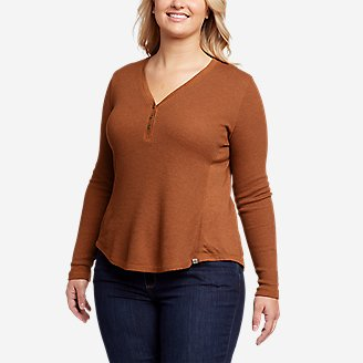 Women's Myriad Thermal-Jersey Mix Henley in Red