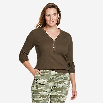 Women's Myriad Thermal-Jersey Mix Henley in Green