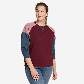 Women's Cozy Camp Sweatshirt - Color Block in Red