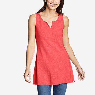 Women's Favorite Notched-Neck Tunic Tank Top in Orange