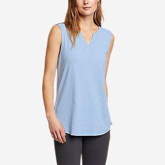 Women's Gate Check Sleeveless Split-Neck Tunic in Blue