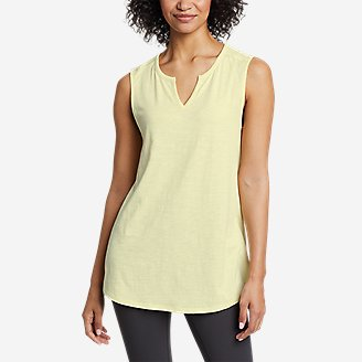 Women's Gate Check Sleeveless Split-Neck Tunic in Yellow