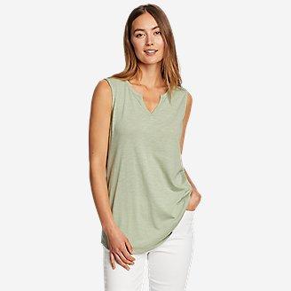 Women's Gate Check Sleeveless Split-Neck Tunic in Green