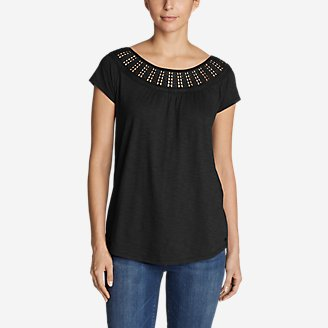 Women's Lola Short-Sleeve Lace Scoop-Neck Shirt in Black
